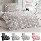 Dreamhome24 Bettwäsche Microfaser Bettbezug 135x200 Sterne Kissenbezug Grau Taupe Silber, Farbe:Taupe