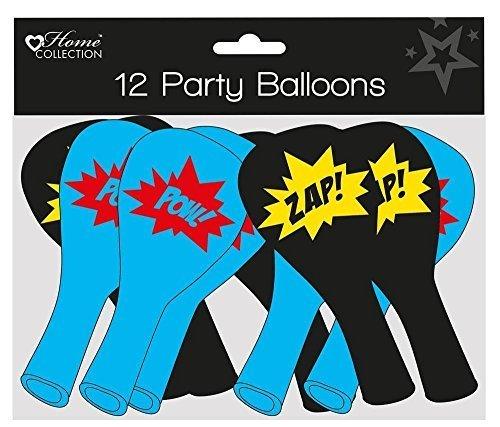 Home Collection Luftballons, für Kinderparty, Superheld-Comic-Schriftzüge, Schwarz und Blau, 12Stück