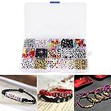 kit de 1100 perles de lettre alphabet pour bracelet tressé avec boîte rangement