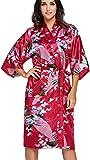 FLYCHEN Damen Satin Kimonos Bademantel lange Nachtwäsche Robe mit Peacock Morgenmantel Dattelrot S