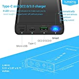 [Quick Charge 3.0 + USB-C] Lumsing 10000mAh Power Bank 3-Port Portable Charger External USB Battery Pack with USB Type-C Input & Output QC3.0/2.0 Smart Tech for for Smartphones, Tablets and Cameras (Black)