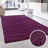 Shaggy-Teppich, Flauschiger Hochflor Wohn-Teppich, Einfarbig/Uni in Lila für Wohnzimmer, Schlafzimmmer, Kinderzimmer, Esszimmer, Größe: 100 x 200 cm
