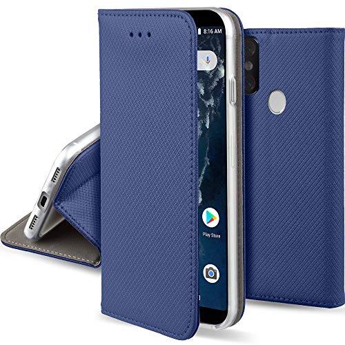 Moozy Hülle Flip Case für Xiaomi Mi A2, Mi 6X, Dunkelblau - Dünne Magnetische Klapphülle Handyhülle mit Standfunktion
