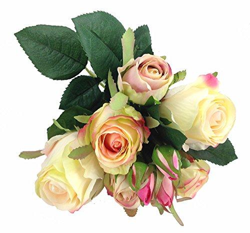 Rosen Bund 32 cm Seidenblumen Kunstblumen Rose Hochzeit Blumenstrauß