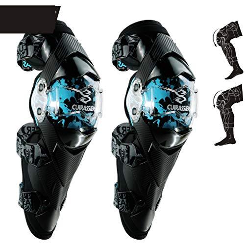 Moto chevalier équipé d'un équipement de protection, anti-chute du genou dispositif de protection, Racing SUV anti-chute anti-collision genou Guard, moto protection genou Pad, 3 couleurs,Blue
