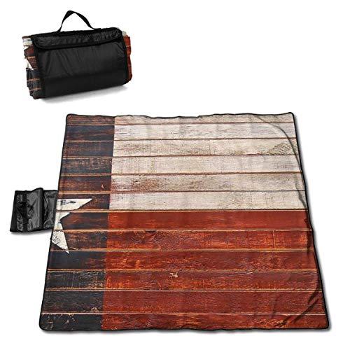 MZZhuBao Texan Flag Painted On Wood Extra Large Picnic Blanket 57