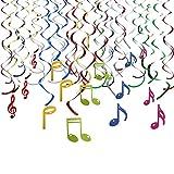 Howaf 30Piezas Nota Musical Colgando remolinos Guirnalda de Techo serpentinas para...