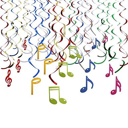 Howaf Musik Hinweis Farbig Deko Spiralen Girlande Hängedekoration Geburtstag Hochzeit Konzert Party Dekorationen, 30 teilig Set