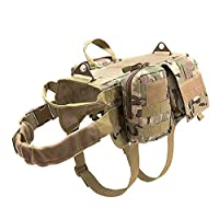 AFAGC Dog Tactical Harness Molle System Vest Adjustable, Camouflage Outdoor Training Harness with 3 Detachable Pouches - Tactical Dog Training Vest Harness,CP,L