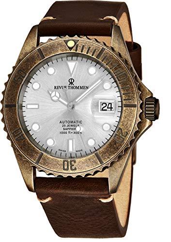 Revue Thommen Diver XL Homme 42mm Bracelet Cuir Automatique Montre 17571.2588
