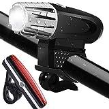 ToHayie Wasserdicht LED Fahrradbeleuchtung Set,Wiederaufladbare Fahrradlicht mit LED Rücklicht, Sicherheits-Taschenlampe,320 Lumen,4 Licht-Modi USB Aufladbare Fahrradlichter