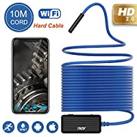 Wireless Endoscope THZY WIFI Inspection Camera Wireless iOS Android Semi-rigid Endoscope WiFi Borescope 2.0 Megapixels HD Snake Camera for Android and IOS Smartphone, iPhone, Samsung, Tablet 10M