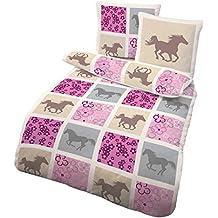 Pferde Bettwäsche Rosa von IDO | Biber Bettwäsche aus 100% Baumwolle | Pferde Bettwäsche 135x200 Made in Germany | Mädchen Pferdebettwäsche mit ÖKO-TEX 100