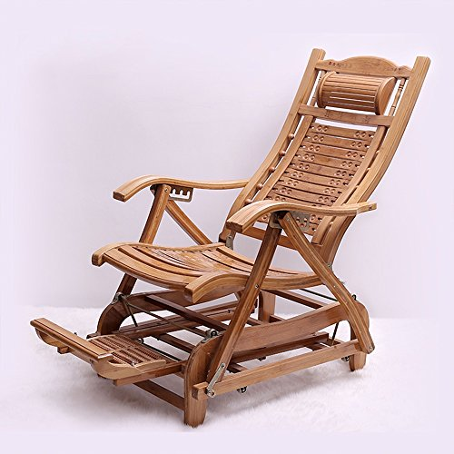 Nichtstuer Bambus Schaukelstuhl Klappstuhl Stuhl des Alten Mannes Sessel Balkon Erwachsene Siesta Lounge-Sessel Stuhl aus massivem Holz