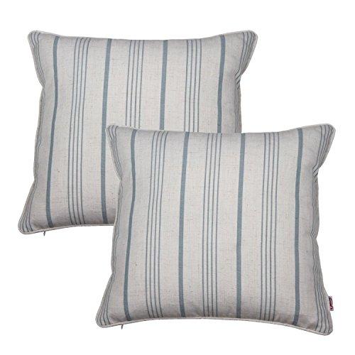 Queenie®-2PCS Checkers Plaids/Streifen Dekorative Kissenbezug Kissenbezug für Sofa Überwurf Kissen Fall Kissenbezug 45,7x 45,7cm 45x 45cm, baumwolle, Blue Stripes, 45,7 cm -