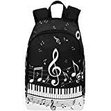 Interestprint Piano Key Music Notes Casual Backpack College School Bag Travel Daypack