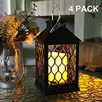 4Pcs Solar Lanterns-Outdoor Hanging Solar Lights with Dancing Flame,Rechargeable Garden Candle Lantern for Camping Christmas Halloween Patio Yard Lawn Party Beach Umbrella #N203A00
