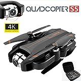 Gxscy 4K aérienne Drone Version Pliante Double caméra S5 2.4G WiFi FPV 4K Caméra HD Drone RC Pliable Quadcopter 120 ° Optique Grand Angle Mode F-Bas sans tête et en Une Touche de décollage/atterriss