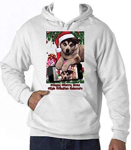 Teesquare1st Men's ALASKAN MALAMUTE CHRISTMAS SELFIE Felpa con cappuccio di cotone Size Medium