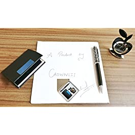 CrownLit's 3 in 1 Gift Set with Apple Clock, Premium Metallic Pen, Business Card Holder