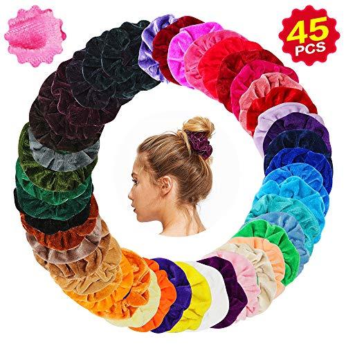 Bunte 45 Farbe Haar Gummibänder Samt Scrunchies Haarbänder Elastische für Damen oder Mädchen Haarschmuck ()