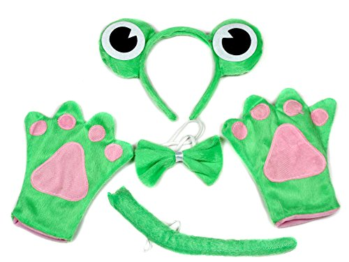 Green Cute Frog Headband Bowtie Tail Gloves 4pc Costume for Child Birthday Party (Green)