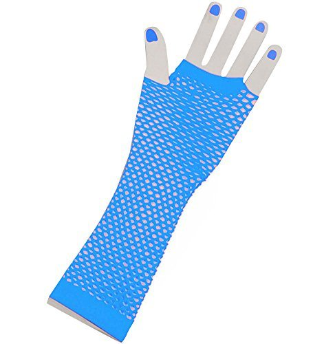Der Türkis Lange Fischnetz Handschuhe Erwachsene - Pop-Diva der 1980er Jahre lange Netz-Handschuhe in schwarz in Türkis (Die 1980er Jahre Kostüme)