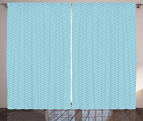 ABAKUHAUS Vintage Blue Rustikaler Gardine, Klassische Argyle, Schlafzimmer Kräuselband Vorhang mit Schlaufen und Haken, 280 x 245 cm, Babyblau und Weiß (Argyle Stoff)