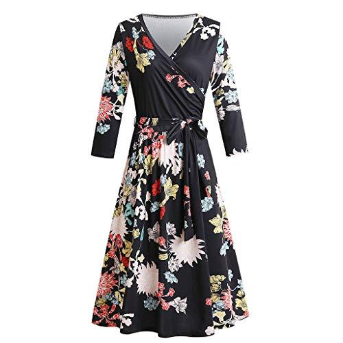 Longue Bow Yolmook Sept Belt V Poitrine Dress Robe Enveloppé Col Manches Femmes cTl31KJF