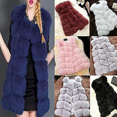 Wawer Winter Thick Coat for Women,Women Casual Winter Warm Faux Fur Long Outwear Cardigan Gilet Jacket , Ladies Elegant Thick Waistcoat Vest Coat
