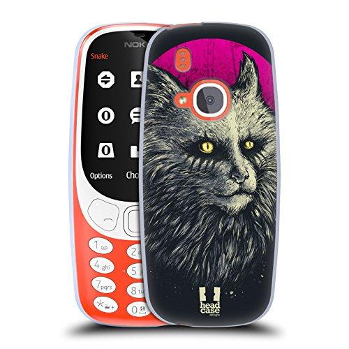 Head Case Designs Gelb Auge Goth Katze Soft Gel Hülle für Nokia 3310 (Goth Zubehör)