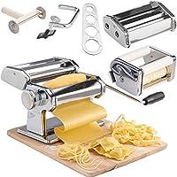 VonShef 5 in 1 Fresh Pasta Maker Machine Roller - Lasagne Spaghetti Tagliatelle Ravioli Fettuccine - with 3 Cut Press Blade Settings, Table Top Clamp & Spaghetti Measuring Tool