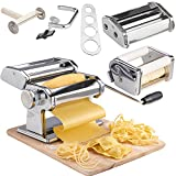 VonShef 5 in 1 Fresh Pasta Maker Machine Roller - Lasagne Spaghetti Tagliatelle Ravioli Fettuccine - with 3 Cut Press Blade Settings, Table Top Clamp & Spaghetti Measuring Tool