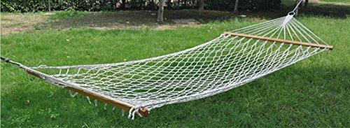 Overstriking filo di cotone bastoni Mesh Hammock di campeggio esterno Dormitorio Camera swing Bianco - Singola Corda Di Cotone