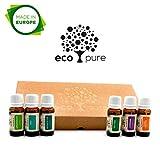 ECO PURE`s Reine Ätherische Öle Set TOP 6 | Duftöle für Diffuser, Massage und Aromatherapie, 100% Naturrein (Lavendel, Teebaum, Eukalyptus, MInze, süße Orange, Zitronengras) Geschenk-Set