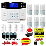 Kit Alarma para casa sin cuotas GSM SMS con idioma Español. Configuración fácil en castellano. Aviso mediante llamada de teléfono o mensaje SMS
