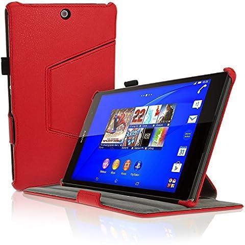 igadgitz Premium Exécutif Rouge PU Cuir Etui Housse Case Cover pour Sony Xperia Z3 Tablet Compact SGP611 avec Support Multi-Angles + Mise en Veille / Réveil + Courroie De Main + Film de Protection