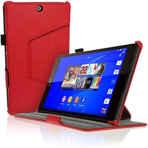 igadgitz Rot PU Ledertasche Hülle Cover für Sony Xperia Z3 Tablet Compact SGP611 mit Multi-Winkel Betrachtungs + Auto Sleep/Wake + Handschlaufe + Bildschirmschutzfolie