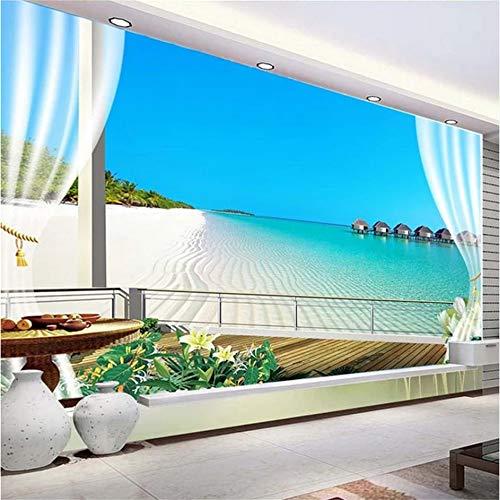 (Guyuell Benutzerdefinierte Wandbild Hd Balkon Malediven Meerblick Foto Tapete Wohnzimmer Tv Sofa Thema Hotel Hintergrund Wanddekor 3D Wandpapier-120Cmx100Cm)