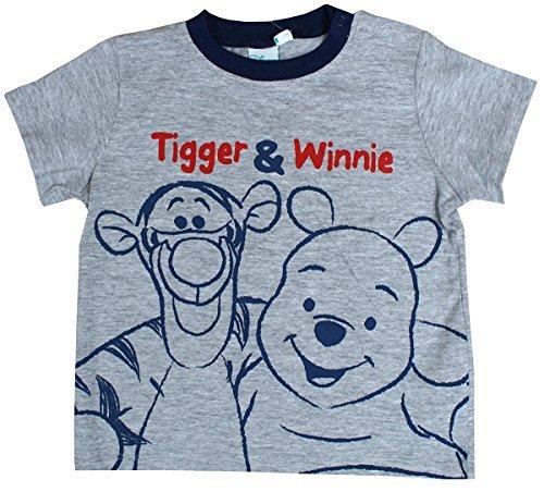 T-Shirt Jungen Baby Disney Winnie Puuh & Tigger Top, Bedruckt Größen von 6 bis 24 Monate - Grau, 12 Months (Top T-shirt Pooh Disney)