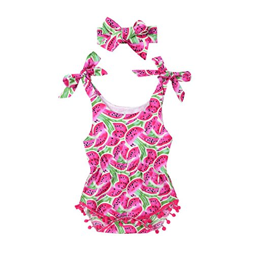 MML Baby Girls Romper Summer Watermelon Lemon Pineapple Pattern Bow Tie Tassel Strap 2Pcs Jumpsuit Headband Outfits Set