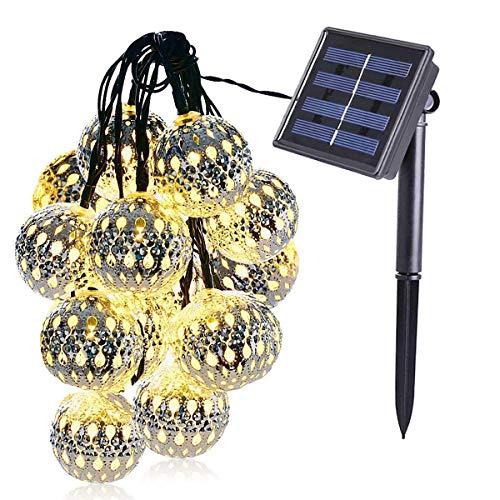 KINGCOO Geometrische Schnur Lichter Außen,15.7FT 20LEDWarmweiß Beleuchtung Metall Ambiente Ornament Solar Dekorative Lichterketten für Schlafzimmer Garten Hochzeit(Marokkanischer Ball) -