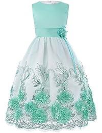 GRACE KARIN® Fille Broderie Fleur Robe sans Manches à Col Rond avec Noeud Papillion 2-12 Ans