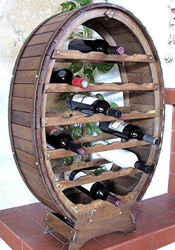 DanDiBo Weinregal Weinfass für 24 Flaschen Braun gebeizt Bar Flaschenständer Fass Flaschenhalter Flaschenregal