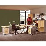 Komplett Büromöbel Set, in Ahorn mit silber, höhenverstellbarer C-Fuß Eckschreibtisch, 2 Rollcontainer, 1 5OH Aktenschrank, 2 3OH Aktenschränke