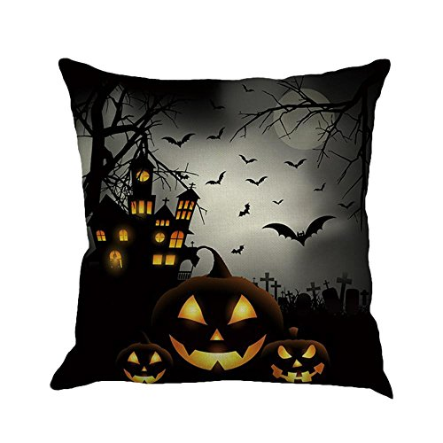 Fuibo Home Decor Happy Halloween Kissenbezüge Leinen Sofa Kissenbezug (A)