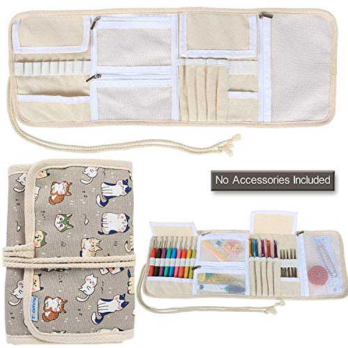 Teamoy Organizador de la Caja de la Lona para los Ganchos de Ganchillo Crocheting Needles Bag-Cartoon Cats(Sin Accesorios incluidos)