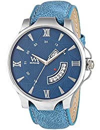 Watch Me Day Date Collection Blue Dial Blue Leather Strap Watch For Men And Boys DDWM-044 DDWM-044rto5