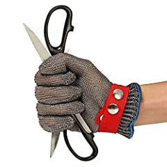 Idea Regalo - Guanti Antitaglio,GOCHANGE Acciaio Inox Rete Metallica Butcher Guanto/Cut Sicurezza Proof Stab Resistente Guanto/Salute e Sicurezza, Facile da Pulire,La Scelta Ideale per l'industria Alimentare