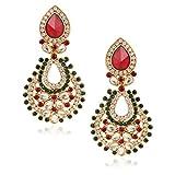 Fashionaya Red Green Pearl Drop Earrings...